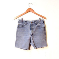 ON SALE Vintage 80s Off Track Gray Faded Denim Lee Cut Off Shorts XS/Small