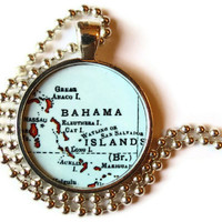Bahamas Vintage Map pendant charm, Bahama Islands picture pendant, photo pendant