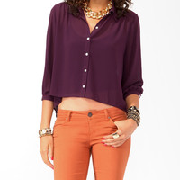 Shirred High-Low Button Up