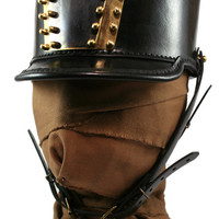 STEAMPUNK LEATHER SHAKO hat black leather polished and blackened brass custom design