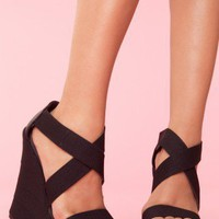 Bound Platform Wedge - Black - NASTY GAL