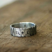 Tree Bark Sterling Silver Personalized Band by monkeysalwayslook