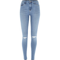 River Island Womens Light wash ripped knee Molly jeggings