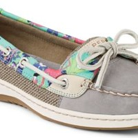 Sperry Top-Sider Angelfish Flamingo Floral Slip-On Boat Shoe Gray, Size 9M  Women's Shoes