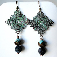 Verdigris Patina Ornate Filigree Squares, Crackle Black Agate, Turquoise, Copper Bead Caps, Daisies, Summer, Fall, Earrings