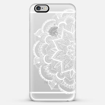 White Feather Mandala on Clear iPhone 6 Plus case by Tangerine-