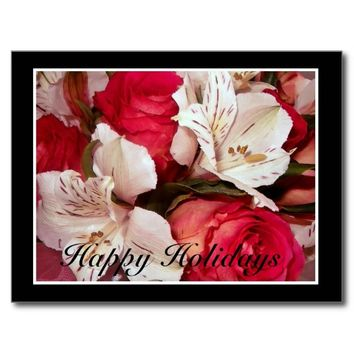 Happy holidays floral postcard