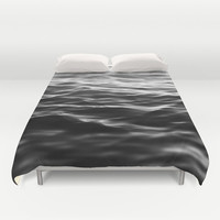 Duvet Cover, Black Ocean Sea Coastal Waters Bedding Cover, Nautical Beach Surf Decor Bed Blanket Throw Bedroom Accent, Full / Queen / King
