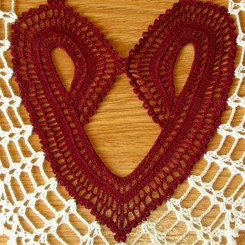 Heart to Heart - an Oval Valentine Lace Doily of Two Hearts Joined