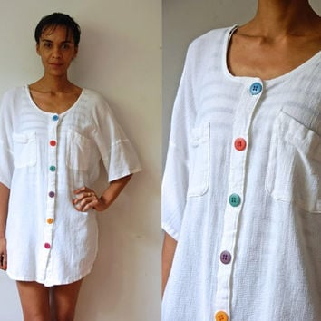 Vtg Colorful Buttoned Oversize White Cotton SS Slouchy Shirt