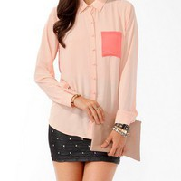 Longline Contrast Pocket Shirt | FOREVER 21 - 2021839599