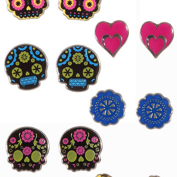 Sweet Sugar Skull Earrings Set