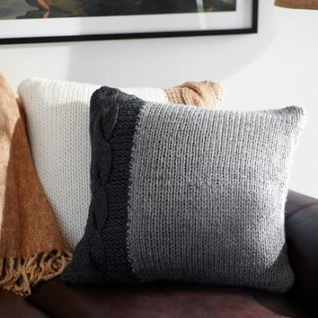Tonal Cable Knit Pillow Cover