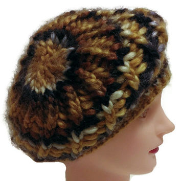 Handmade Multicolor Warm Winter Hat, Gold Slouchy, French Beret, Snow Hat, Fuzzy Hat, Versatile Hat