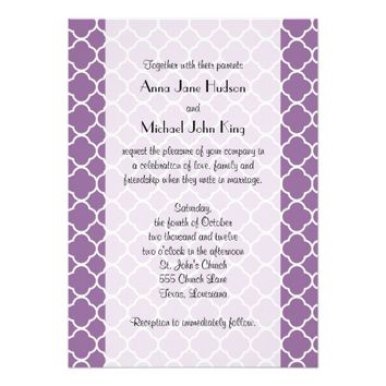 Wedding - Quatrefoil Shape - Purple White