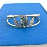 Vintage Silver Cuff Bracelet - Beautiful Abalone Inlay