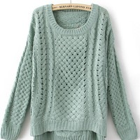 Green Round Neck Long Sleeve Hollow Sweater - Sheinside.com