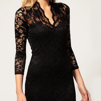 Black Vintage Lace Fitted Dress - Sheinside.com