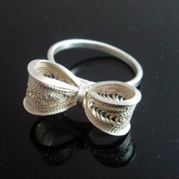 Silver Ring - Filigree Bow Tie Ring