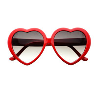 Cute Love Indie Hippie Retro Fashion Large Heart Shaped Sunglasses W1830