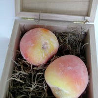 Peach fruit Soap in wooden gift box £10.00