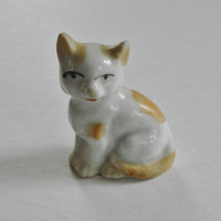 Vintage Ceramic Cat Figurine, Vintage Orange and White Cat Figurine