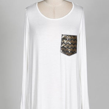 Ivory Tunic Top with Chevron Sequin Pocket