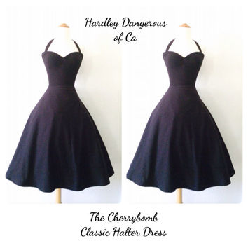 The Cherrybomb Halter Dress in Black Cotton Lycra Knit, Casual Wedding Bridesmaid, Sexy Black Cocktail Party Rockabilly Pin Up Dress