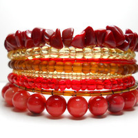 Memory Wire Bracelet Red and Tan Stacked Bracelet Beaded Wrap Bracelet