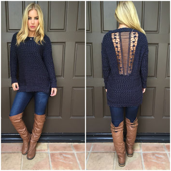 Preach to the Choir Knit Sweater  DARK NAVY