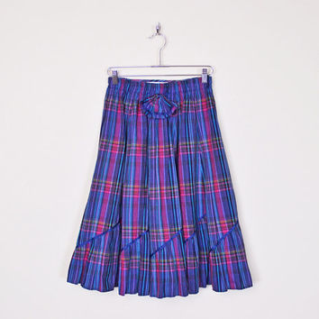 Vintage 80s Purple Plaid Skirt Plaid Midi Skirt Tiered Skirt Tiered Ruffle Skirt High Waist Skirt Big Bow Western Skirt 80s Skirt M Medium
