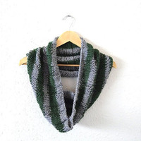 hand knit bold striped harry potter slytherin cowl loop scarf