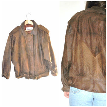 brown leather BOMBER jacket / GRUNGE vintage 1980s small BATWING relaxed small genuine leather unisex moto jacket