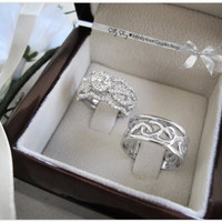 Wedding Infinity knot Couples Rings Set. Engagement Ring With Wedding Matching Bands/ 14K gold Semi Mountiong. And a Wedding Ring/ 14K gold