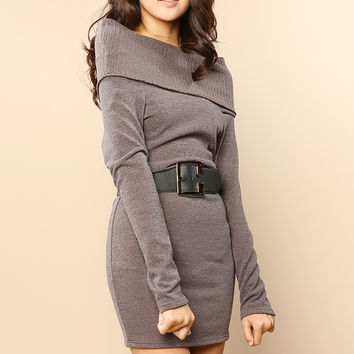 Casual Sweater Dress With Belt