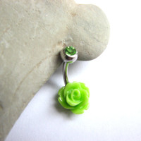 Lime Green Flower Non Dangle Belly Button Jewelry -  Small Rose Bellybutton Ring, Dainty Belly Button Ring, Navel Piercing, Cute Belly Ring
