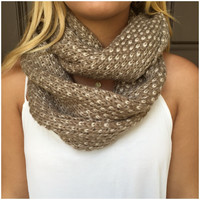 Beige & Ivory Speckled Knit Infinity Scarf - Beige & Ivory Speckled Knit Infinity Scarf