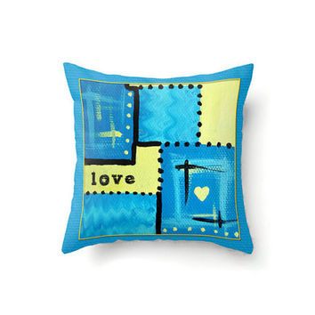 Turquoise and Yellow Pillow Cover abstract design with Love in typography in 16 x 16, 18 x 18 or 20…