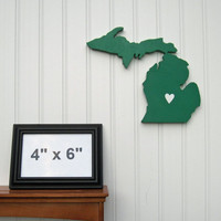 "Michigan State Spartans ""State Heart"" wall art, handcrafted wood featuring official team colors"
