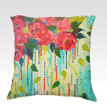 ROSE RAGE Fine Art Velveteen Throw Pillow Cover 18 x 18 Abstract Pretty Floral Red Rose Turquoise Blue Green Modern Dorm Home Decor Painting