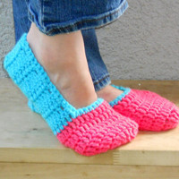 cozy house slippers, booties, shoes, socks in aqua and salmon