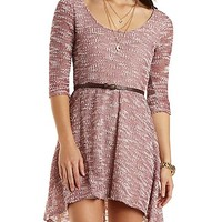 Belted Sweater Knit High-Low Dress - Dusty Rose Combo
