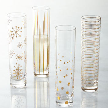 Four Golden Sparkle Champagne Flutes
