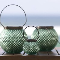 Luster Blue Mercury Glass Lanterns