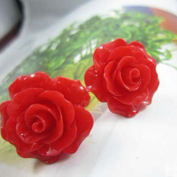 Red Rose Bloom Earrings