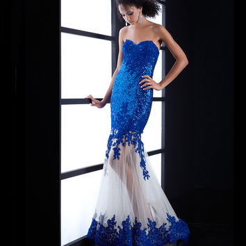 Jasz Couture Royal Blue Strapless Sequin & Lace Mermaid Dress Prom 2015