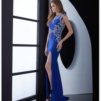 Jasz Couture Royal Blue Intricatly Beaded Open Back Dress Prom 2015