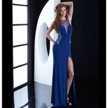 Jasz Couture Midnight Blue Beaded Illusion Cutout Gown Prom 2015