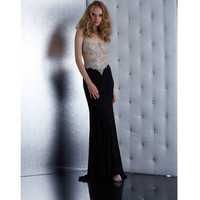 Jasz Couture Black Strapless Beaded Bodice Dress Prom 2015
