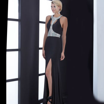 Jasz Couture Black Flowing Beaded Bodice Keyhole Back Gown Prom 2015